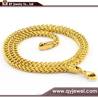 Fashion Design 6mm Heavy Gold Plated Stainless Steel Mens Franco Chain