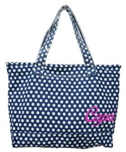 2015 newest fashion canvas material white-dot pattern young girls custom recyclable printed tote bags