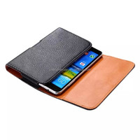 luxury hanging waist pouch holster belt clip leather case for samsung iphone