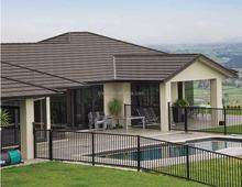 sancidalo Nigeria hot sale villa stone coated steel roofing tile, low cost curved heat insulation stone coated asphalt shingles
