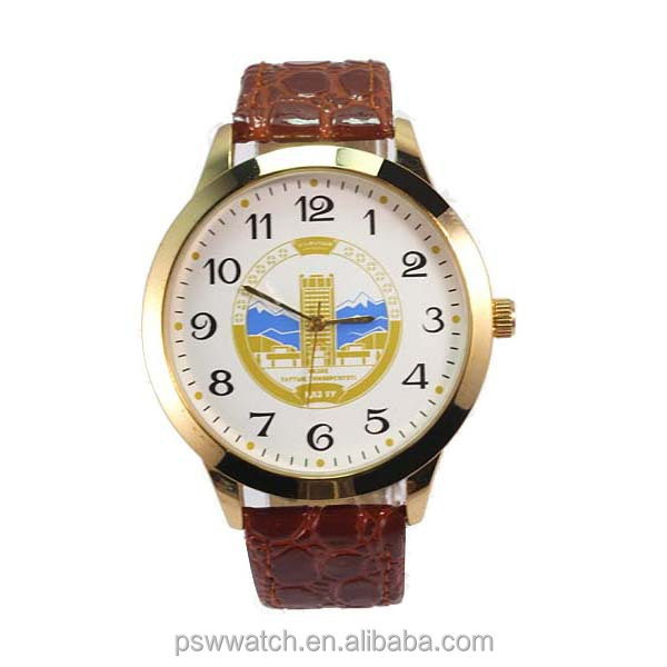 Arabic numbers polished crocodile man leather watches genuine leather watch