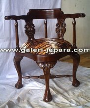 Antique Reproduction Furniture - Corner Chair with Natural Painted Furniture