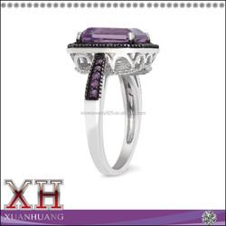 925 Sterling Silver New Arrival Black Rhodium Emerald -cut Amethyst Ring
