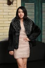 2015 Popular Real Rabbit Fur Coat / Women Long Fur Coat / Black Raccoon Color Jacket