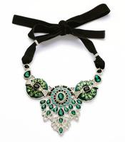 Blue Pendant Black Satin Ribbon Necklace