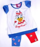 Wholesale children Cartoon t-shirt set Girl clothes sets baby summer suit set 2pcs short sleeve t-shirt +Long Leggings baby gir