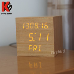 Excellent high quality wooden LED calendar clock for living room