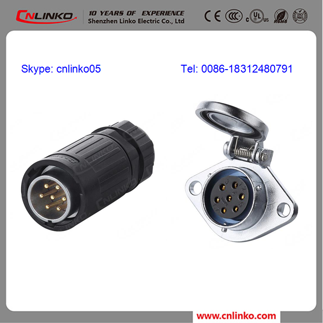 Signal Type Waterproof 7 Pin Connector Male Female And 7