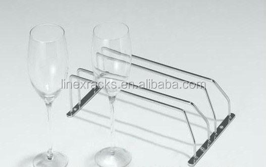 LINEX Multi-Dispositif acier inoxydable 2 lignes porte-verre de vin en gros rack en métal verre classial suspendus porte-verre de vin