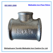 galvanized malleable iron pipe fitting, beaded reducing tees