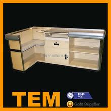 Modern Imitation Wooden Surpermarket Cashier Desk Furniture