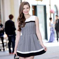 European leg dress summer 2015 new European and American big temperament Slim Plaid Dress Fashion Women