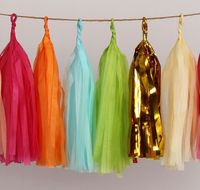 14 inch colorful hanging decorative tassel paper garland for party decoration