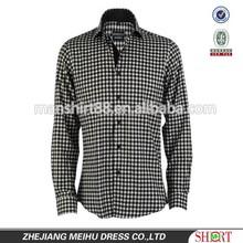 2015 Fashion style men's shirt long sleeve fashion slim fit men black white checked shirt,new model for men