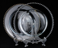 Crystal beads glass charger plate for wedding and events