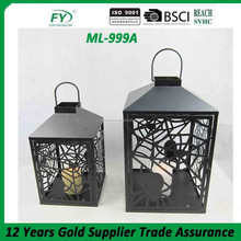 Big size metal lantern for halloween with lonely spiders spinning the web design ML-999A
