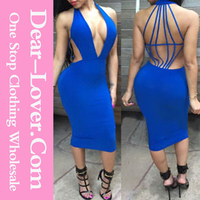 Cheap Royal Blue Strappy Open Back Plunging Sexy Girl Night Club Wear