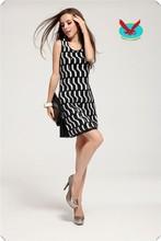 Double diamond black Slim package hip color combination of party short dresses
