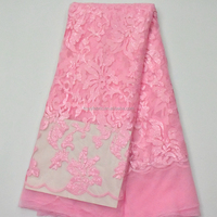 Bady Pink Hot Sequin net embroidery fabric french tulle lace fabric for wedding dress