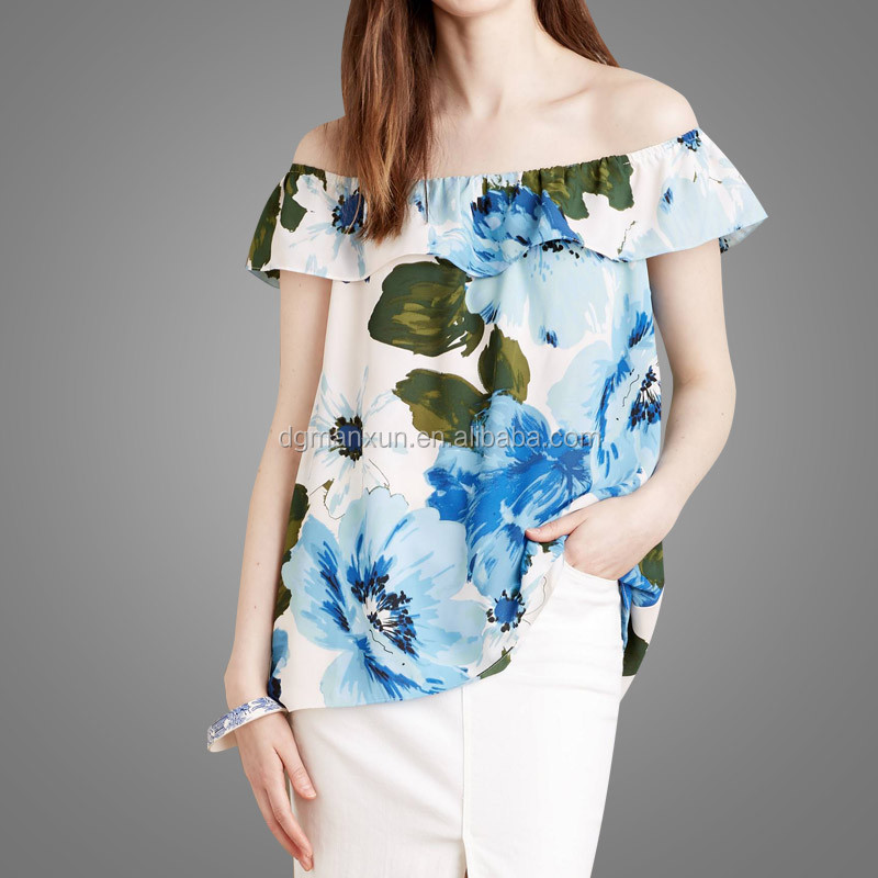 High Quality Off Shoulder Top Floral Printing Tube Top New Fashion Office Skirts and Blouses for Women (1).jpg