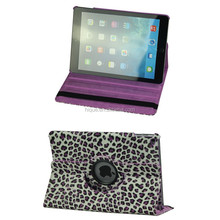 Sleep/Wake smart case PU Leather Stand Cover for ipad air 2 360 degree Swivel Case Leopard Pattern Printing
