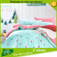 Hand made microfiber bed sheets polyester colorful duvet covers
