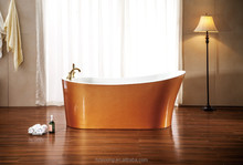 large luxry 2015 new design white and orange golden pearl acrylic free sanding bathtub MV037D-M