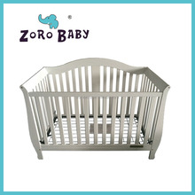 Solid pind wood American style baby cot/solid wooden baby crib white color