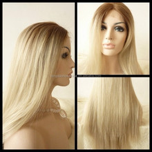 Top Quality stock brazilian hair blonde human hair full lace wig