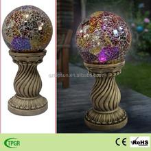 Polyresin pillar red glass ball solar light for garden decoration