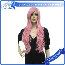European jewish human with silk top cap synthetic lace front wig heat resistant pink wig