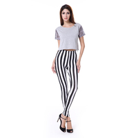 2015 Top Quality Fashion Sexy Black & White Stripes Pants