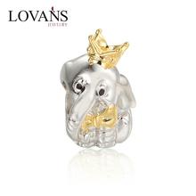 Lovans Cute Elephant 925 Fine Silver Charm Bracelet Jewelry Beads With Big Hole