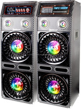 "Dual 10"" 2.0 active stage dj disco speaker/ speaker with light /USB/SD/FM+woofer"