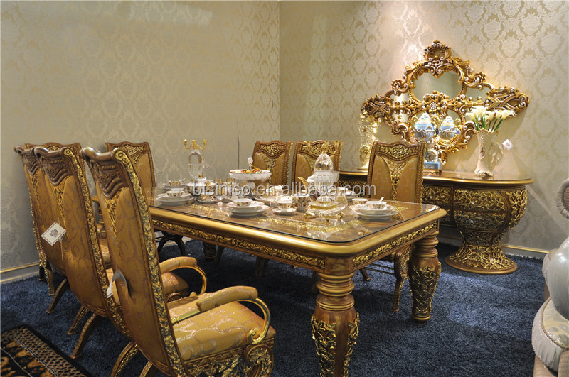 ZH2015 97. - Italian Glass Top Dining Tables And Chairs Set,Antique Golden Wooden