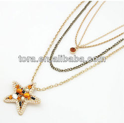 2013 new fashion crystal star necklace set