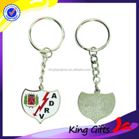 Personalized heart shape military metal keychain with flash lightning logo