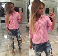 Z50797B Fashion Women pink checked blouses Lady cotton shirt Blouses