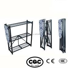 Folding metal storage shelf with mesh ironing board