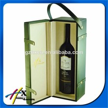 Custom Green PU Leather Grape Wine Carrier Paper Boxes for Wine