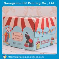 circus troup cartoon birthday cake pacagking box