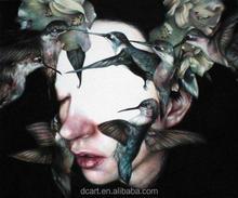 Vendita calda pittura a olio su tela ingrosso, volto donna e progettazione di uccelli