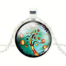 Glass Cabochon Chain Necklace Milky Way Galaxy Nebula Space Antique Silver Sun God Pendant Necklace