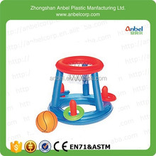 2015 Family Floating Pool Play Game Center Inflatable Pool Hoop And Basketball With Three Ring