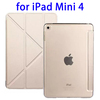 2015 China with Transparent Back Leather Flip Cover for iPad Mini 4 Case