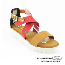 PU upper comfortable ankle crossing strap casual woman sandal
