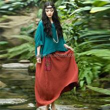 2015 Jiqiuguer marca últimas 100 algodón rojo más mujeres falda larga