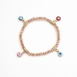 Yiwu Jewelry Factory Fashion Handmade Women Pink Evil Eye Charm Bracelet Stock, Cheap Bulk Jewelry