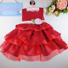 Latest children dress Summer bright silk import organza slim six layers children cake skirt dress 1778