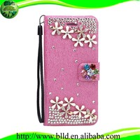 Made in China Handmade Luxury Diamond Case Wallet Leather Case Carcasa para telefonos For Samsung S6